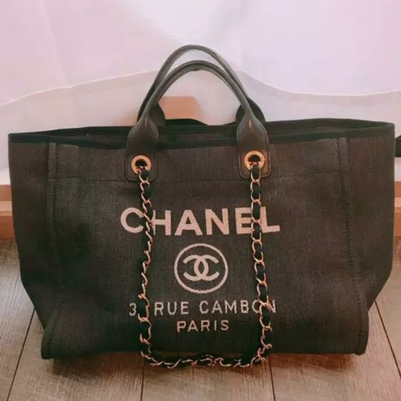 CHANEL Handbags - Authentic CHANEL Deauville Tote Denim Navy
